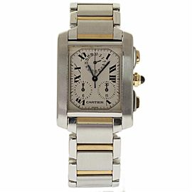 Cartier Tank Francaise Chronoflex W51004Q4 Stainless Steel & Gold Men's Watch