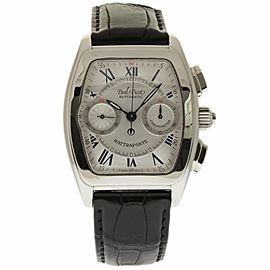 Paul Picot Rattrapante 521SG Stainless Steel & Leather Silver Roman Dial Automatic 40mm Unisex Watch