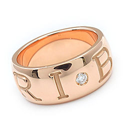 Bulgari Mono Logo 18k Rose Gold Diamond Band Ring Size 5.5
