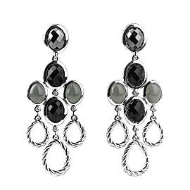 David Yurman 925 Sterling Silver Chandelier Diamond Onyx Earrings