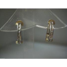 FINE ESTATE 14K MULTI TONE GOLD BAGUETTE DIAMOND EARRINGS