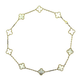 Van Cleef & Arpels Alhambra 18K Yellow Gold Mother of Pearl 10 Motif Necklace