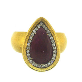 Gurhan 24K Yellow Gold Pear Shaped Ruby and Diamond Ring Size 6.5