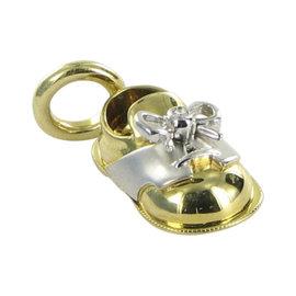 Aaron Basha Baby Shoe 18K White & Yellow Gold with 0.01ct Diamond Pendant