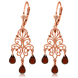 3.75 CTW 14K Solid Rose Gold Chandelier Earrings Natural Garnet