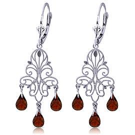 3.75 CTW 14K Solid White Gold Chandelier Earrings Natural Garnet