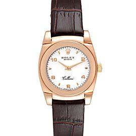 Rolex Cellini Cestello 18k Rose Gold White Dial Ladies Watch 5310