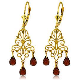 3.75 CTW 14K Solid Gold Chandelier Earrings Natural Garnet