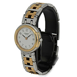 HERMES White Dial GP/SS Date Quartz Ladies Watch