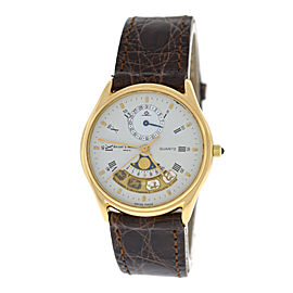 Baume & Mercier Zodiac Moonphase 18K Yellow Gold / Leather Quartz 32mm Unisex Watch