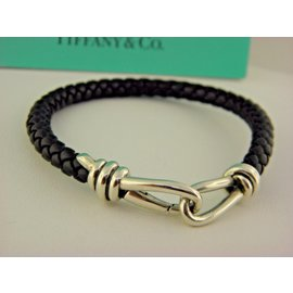 Tiffany & Co. Paloma Picasso 925 Sterling Silver Black Leather Knot Single Braid Bracelet