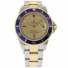 Rolex Submariner 16803 Stainless Steel & Yellow Gold with Diamond 40mm Mens Watch