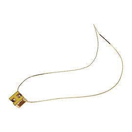 Hermes Cage d`H Palladium & Enamel Cube Pendant Wire Necklace