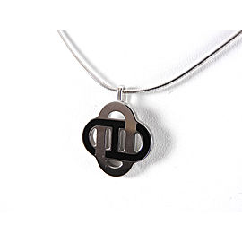 Hermes Isatis Palladium & Enamel Pendant Wire Necklace