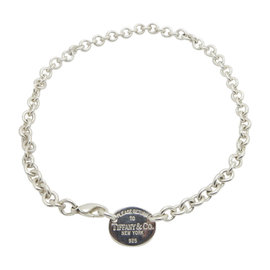 Tiffany & Co. 925 Sterling Silver Oval Please Return To Tiffany Necklace