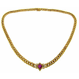 Bulgari 18K Yellow Gold Ruby Diamond Chain Pendant Necklace