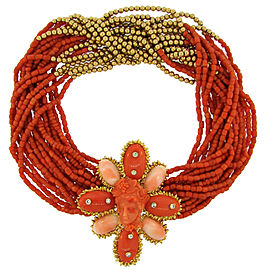 David Webb 18K Yellow Gold Coral Diamond Removable Brooch Pin Clip Necklace
