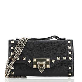 Valentino Rockstud Fliplock Wallet on Chain Leather
