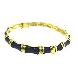 Tiffany & Co. 18K Yellow Gold & Enamel Bamboo Vintage Bangle Bracelet