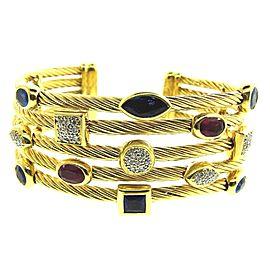 David Yurman 18K Yellow Gold Diamond & Ruby, Sapphire Confetti Cuff Bangle