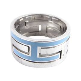 Hermes Move Ash 925 Sterling Silver Enamel H Ring Size 6.5