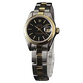 Rolex Datejust 69173 Stainless Steel and 18K Yellow Gold with Black Index Dial 26mm Womens Watch