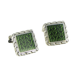 John Hardy Classic 925 Sterling Silver Chain Green Square Cufflinks