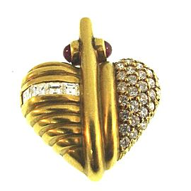 Judith Ripka Love Me 18K Yellow Gold Diamond & Cabochon Ruby Heart Pendant