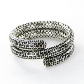 John Hardy Dot 925 Sterling Silver & Black Enamel Double Coil Bracelet
