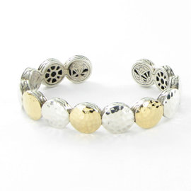 John Hardy Palu Dot 925 Sterling Silver & 18K Yellow Gold Flex Cuff Bracelet