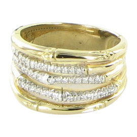 John Hardy Bamboo 18K Yellow Gold with 0.20ct Diamond Ring Size 7