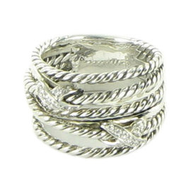 David Yurman X Cable 925 Sterling Silver with 0.11ct Diamond Ring Size 6