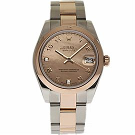 Rolex Datejust 178241 Stainless Steel and 18K Rose Gold with Mother Of Pearl Diamond Dial 31mm Womens Watch