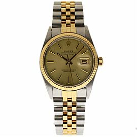 Rolex Datejust 16013 Stainless Steel and Yellow Gold with Champagne Dial Vintage 36mm Mens Watch