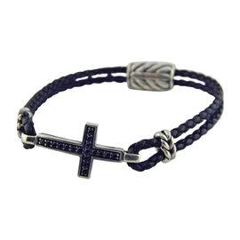 David Yurman 925 Sterling Silver with 0.51ct Black Diamond Pavé Cross Bracelet