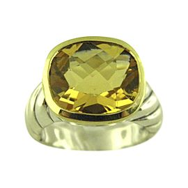 David Yurman 925 Sterling Silver & 18K Yellow Gold with Citrine Noblesse Ring Size 6.5