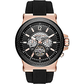 Michael Kors MK9019 Rose Gold Stainless Steel / Rubber with Black Dial Automatic 48mm Mens Watch