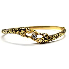 Carrera y Carrera 18K Yellow Gold and Enamel with 0.22ct. Diamond Double Panther Bracelet
