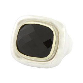Tiffany & Co. Paloma Picasso Sterling Silver and 18K Yellow Gold Onyx Ring Size 6