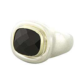 Tiffany & Co. Paloma Picasso Sterling Silver and 18K Yellow Gold Onyx Ring Size 5.5