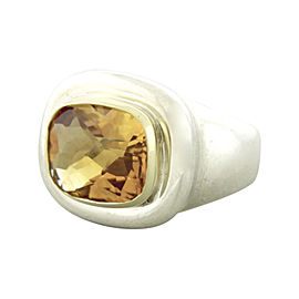 Tiffany & Co. Paloma Picasso Sterling Silver & 18K Yellow Gold Citrine Ring Size 6