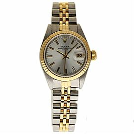 Rolex Date 69173 Stainless Steel and Yellow Gold with Silver Dial Vintage 26mm Womens Watch