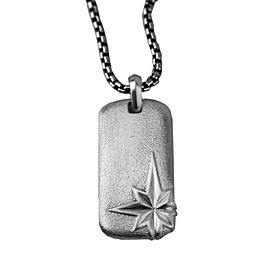 David Yurman 925 Sterling Silver North Star Dog Tag Pendant Necklace