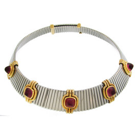 Bulgari Tubogas Yellow Gold and Stainless Steel with Pink Tourmaline Necklace