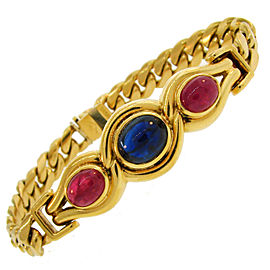 Bulgari Vintage 18K Yellow Gold with Sapphire and Ruby Link Bracelet