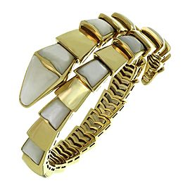 Bulgari Serpenti Mother-of-Pearl 18K Yellow Gold Wrap Snake Bracelet