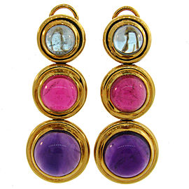 Tiffany & Co. Paloma Picasso 18K Yellow Gold Amethyst Aquamarine Rubelite Vintage Earrings