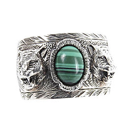 Gucci 925 Sterling Silver & Synthetic Green Malachite Cat Head Motif Ring Size 8.5