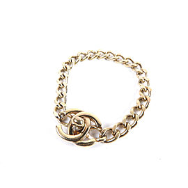 Chanel Gold Tone Hardware CC Logo Turn Lock Chain Bracelet