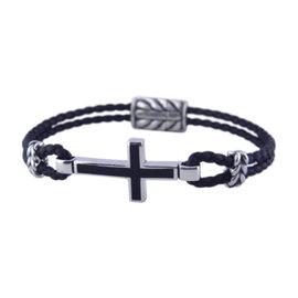 David Yurman 925 Sterling Silver & Leather with Black Onyx Cross Station Bracelet